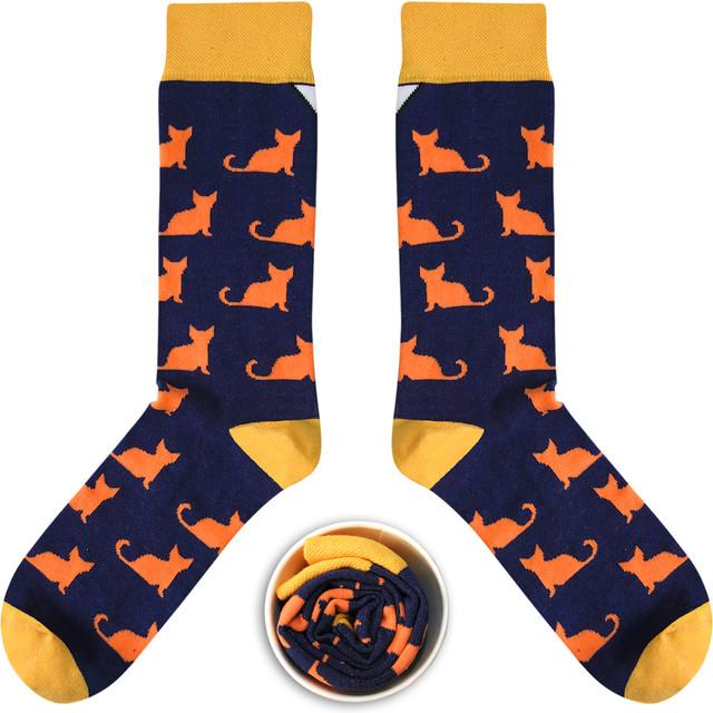 Granatowe Trykoty w Oranżowe Koty