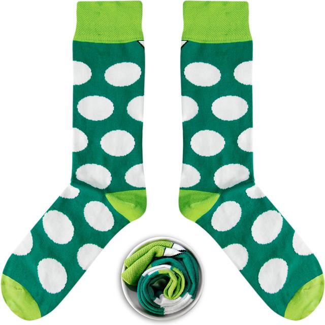 Zielone w Białe Grochy