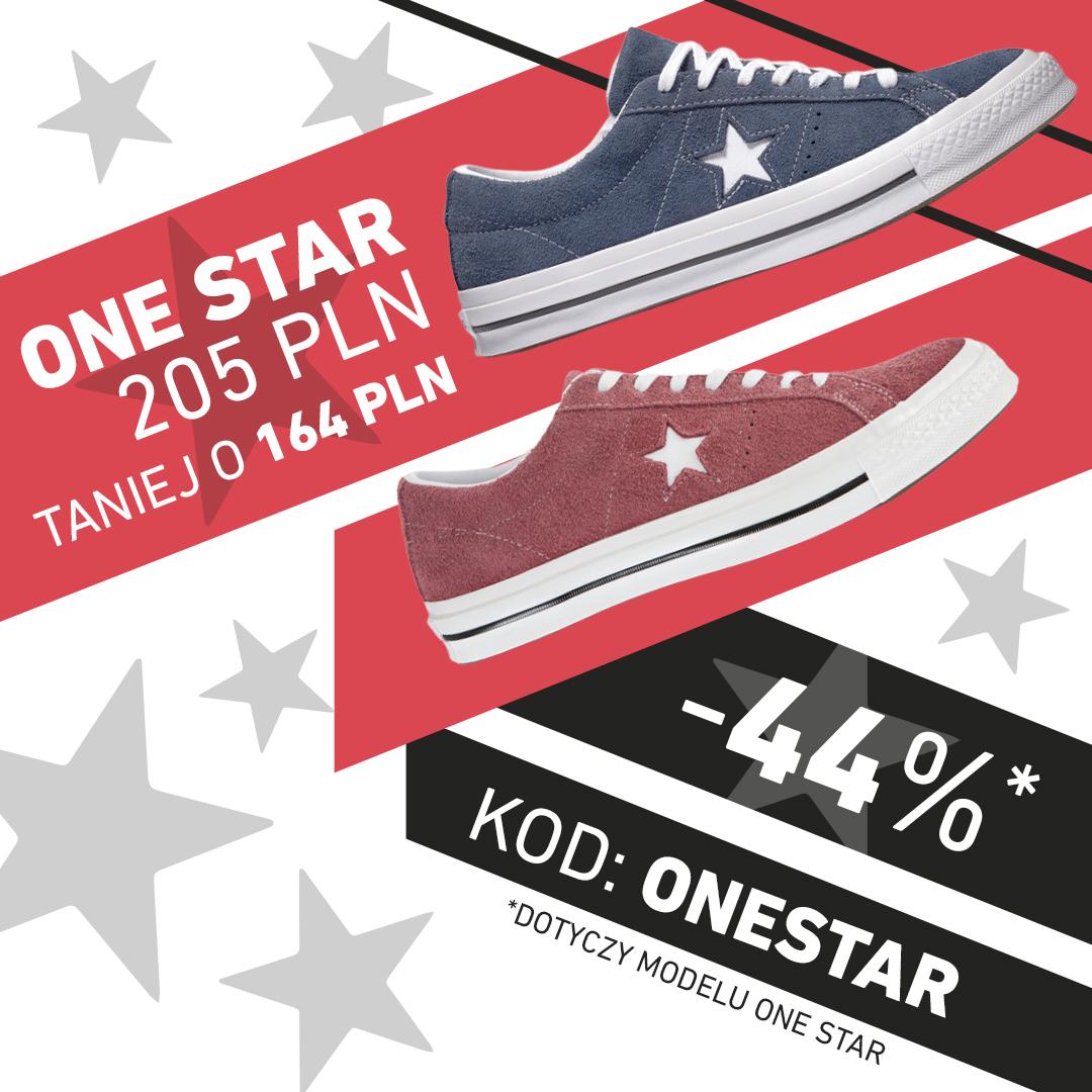 4c6ae66e Trampki białe czarne czerwone niebieskie bordowe granatowe, niskie,  Converse One Star -44%