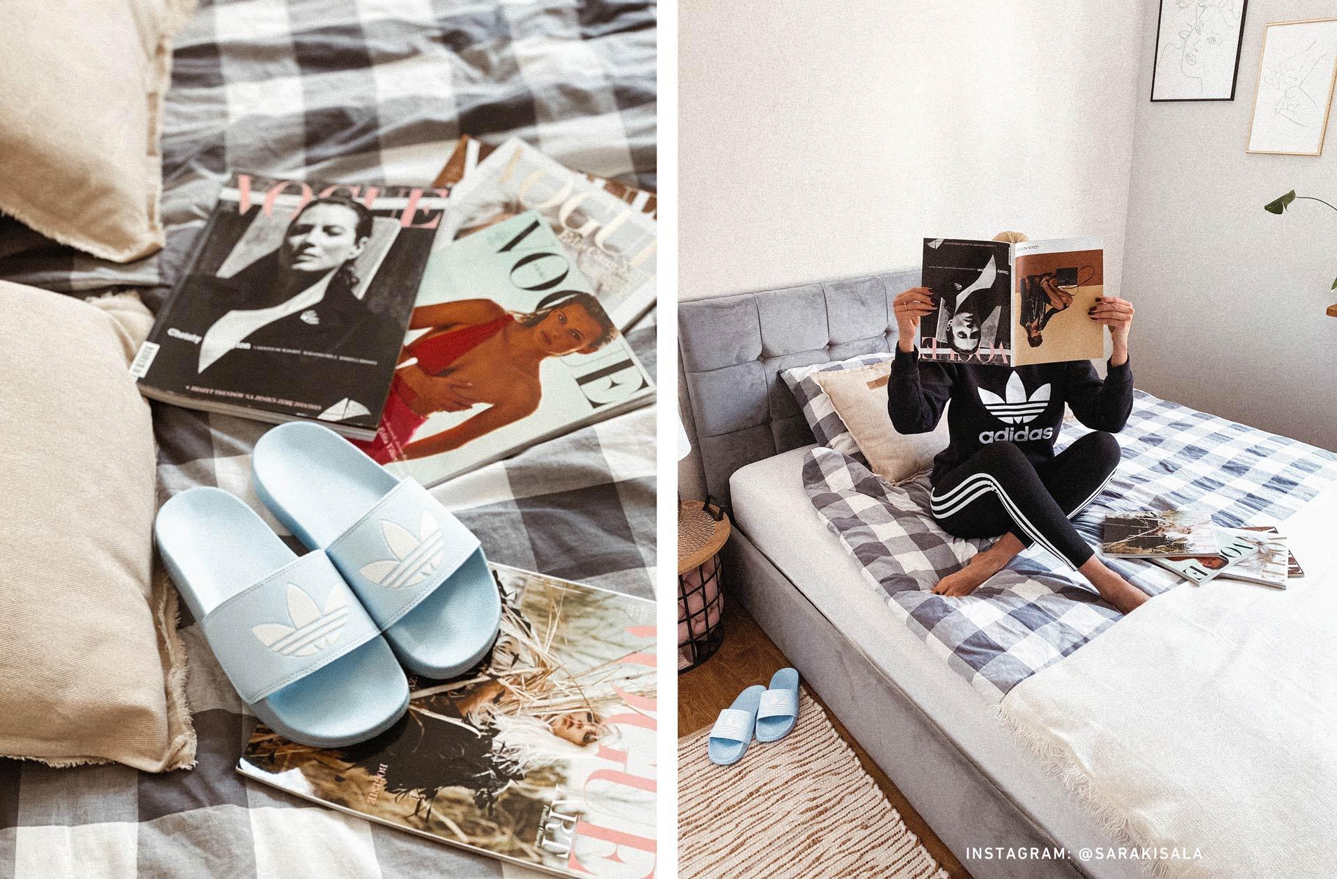 Klapki błękitne adidas i dresy czarne adidas