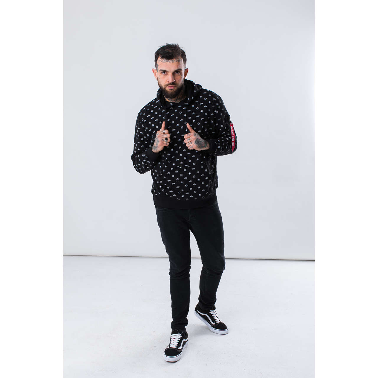 Bluza Alpha Industries  <br/><small>ALL OVER HOODY 03 BLACK </small>  196312-03