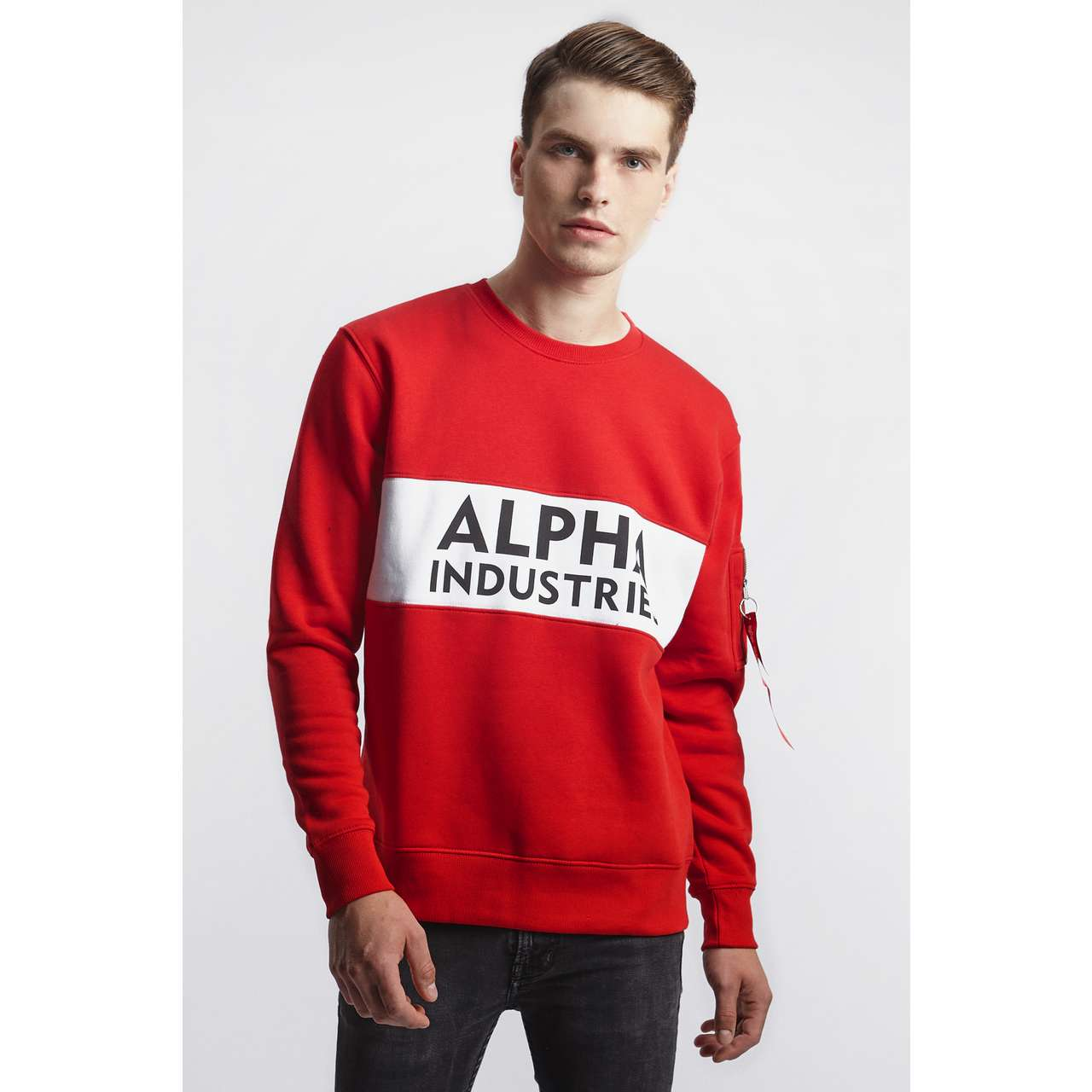 Bluza Alpha Industries  <br/><small>INLAY SWEATER 328 SPEED RED </small>  188308-328
