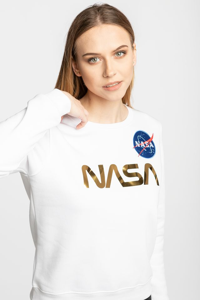 WHITE/GOLD NASA PM Sweater Wmn 438