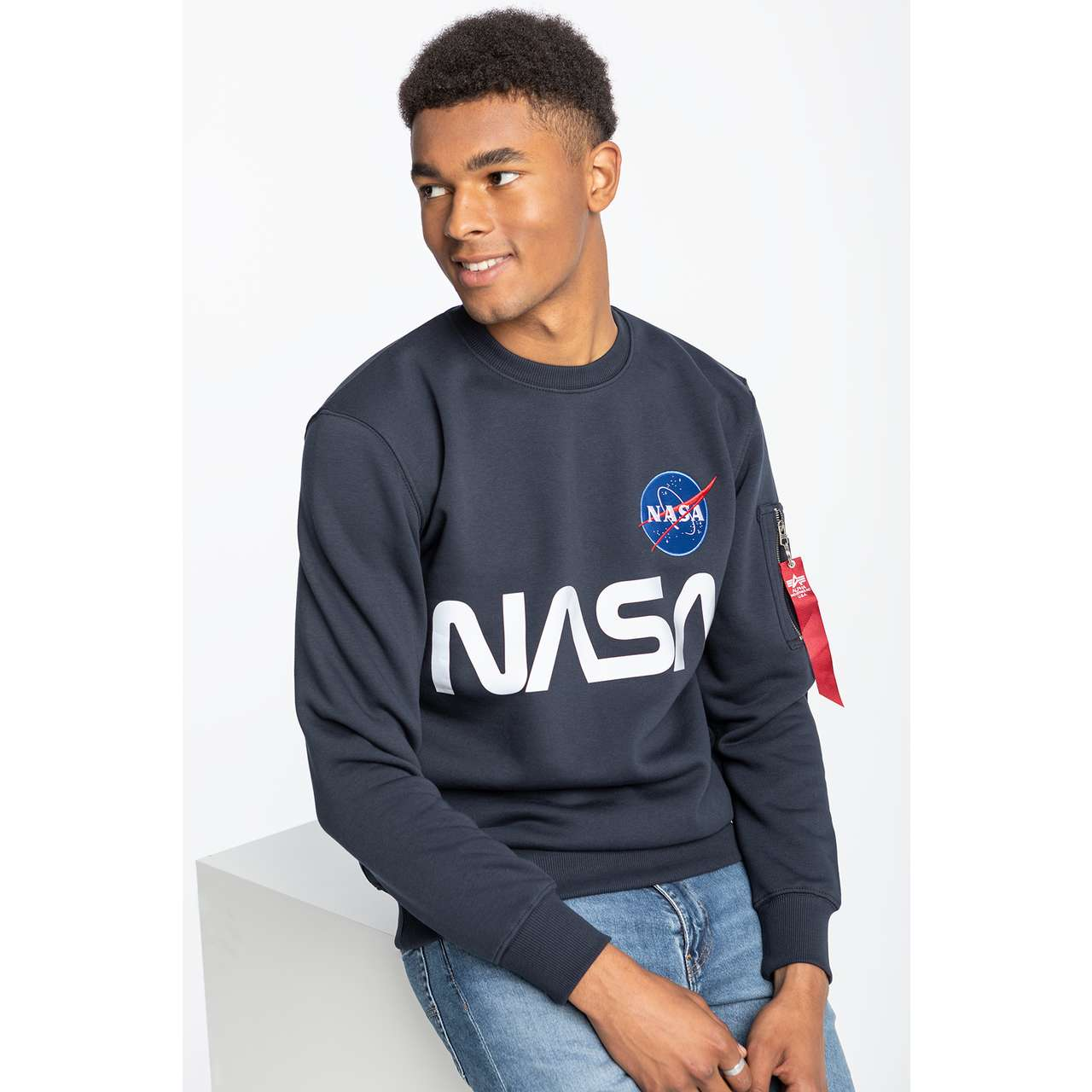 Bluza Alpha Industries  <br/><small>NASA REFLECTIVE SWEATER 07 REP. BLUE </small>  178309-07