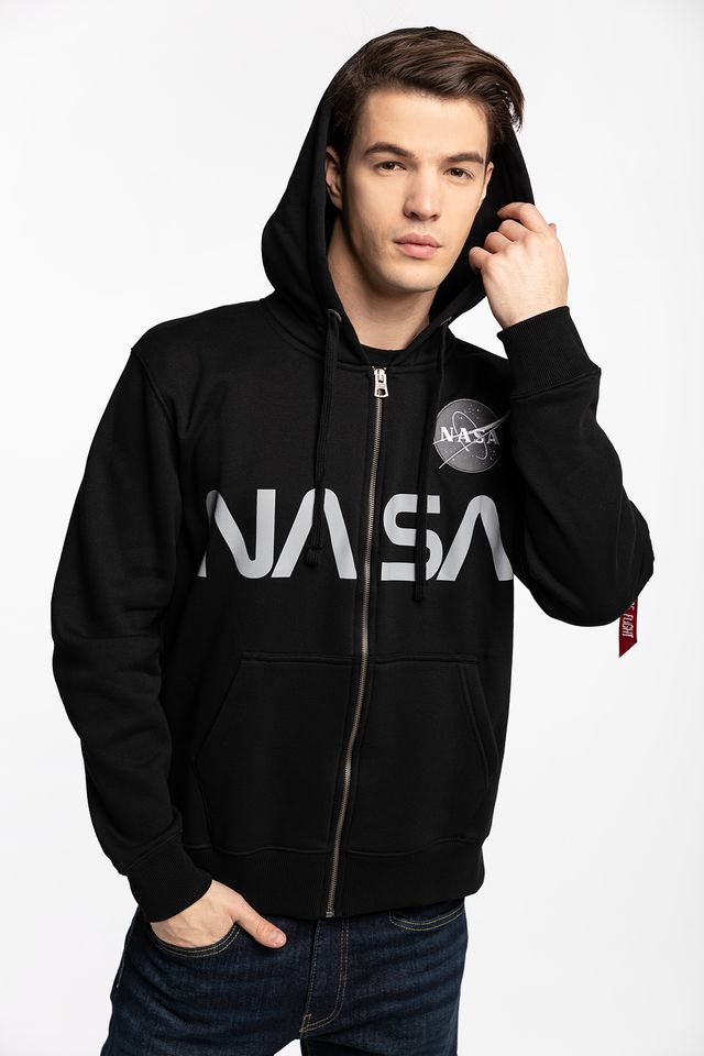 Alpha Industries NASA ZIP HOODY 03 BLACK 178326-03
