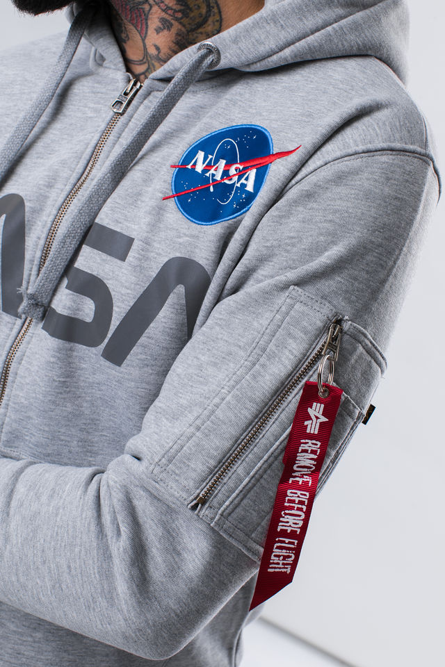 Alpha Industries NASA ZIP HOODY 17 GREY HEATHER 178326-17