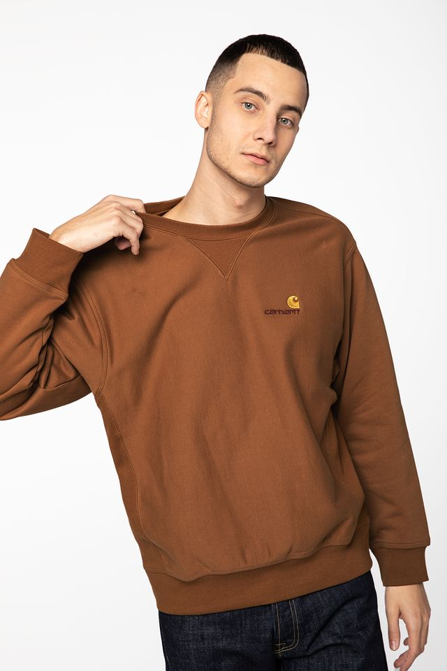 Carhartt WIP AMERICAN SCRIPT SWEAT HZ00 HAMILTON BROWN I025475-HZ0003