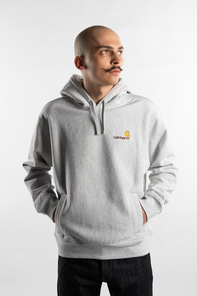 Carhartt WIP HOODED AMERICAN SCRIPT SWEATSHIRT 48200 ASH HEATHER I027041-4820003
