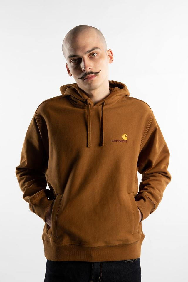 Carhartt WIP HOODED AMERICAN SCRIPT SWEATSHIRT HZ00 HAMILTON BROWN I027041-HZ0003