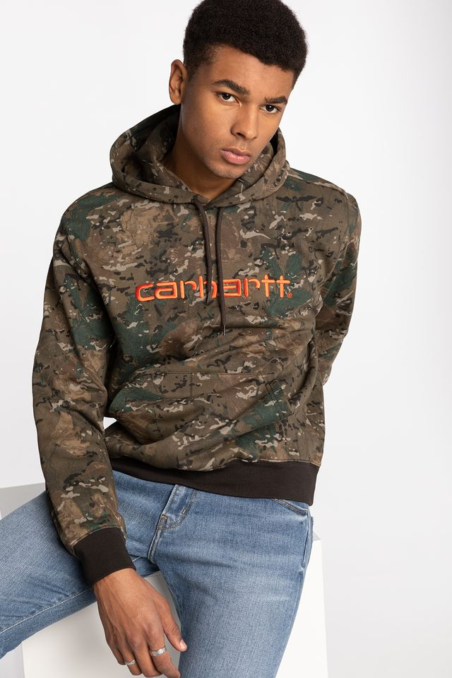 CAMO COMBI / SAFETY ORANGE Hooded Carhartt Sweat 093