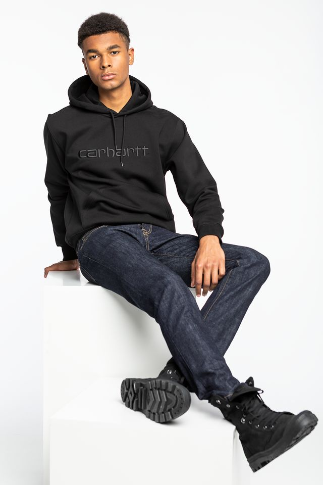 Carhartt WIP HOODED CARHARTT SWEATSHIRT 8991 BLACK/WHITE I027093-8991