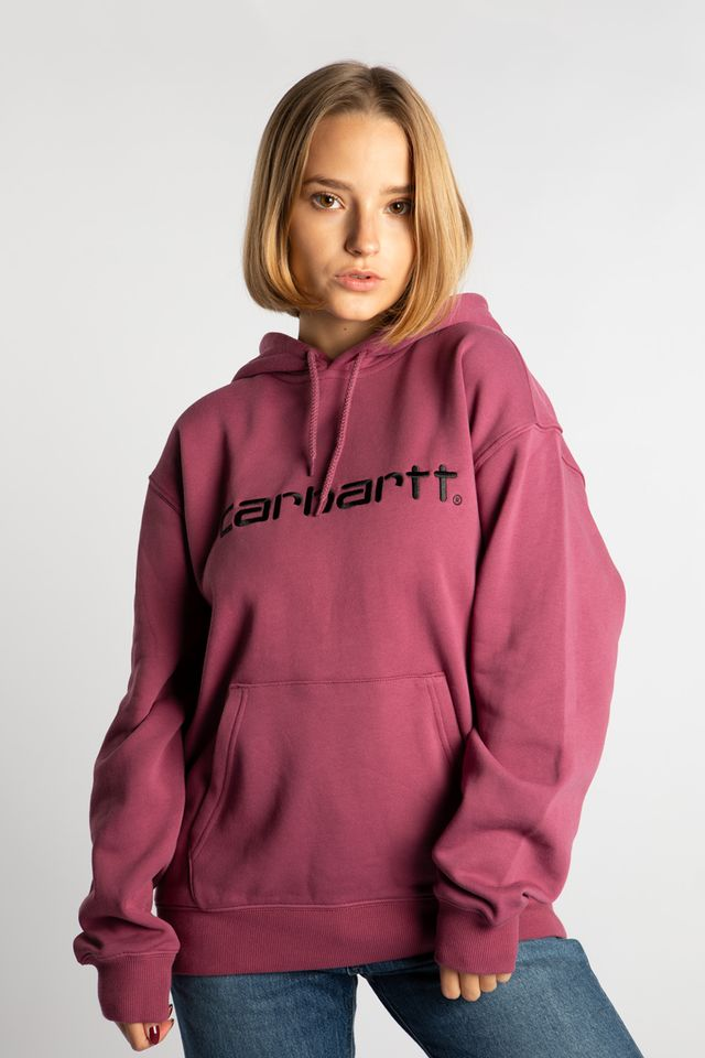 Carhartt WIP HOODED CARHARTT SWEATSHIRT 05D90 DUSTY FUCHSIA/BLACK I027476-05D90