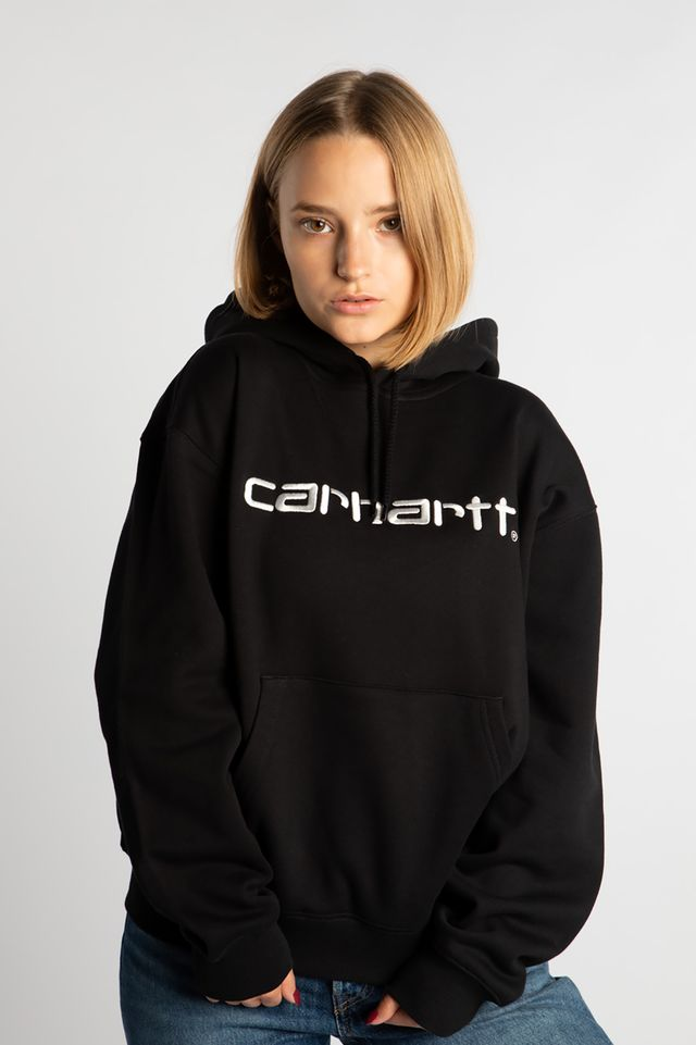 Carhartt WIP HOODED CARHARTT SWEATSHIRT 8990 BLACK/WHITE I027476-8990