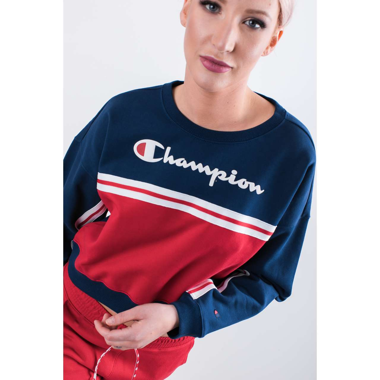 Bluza Champion  <br/><small>CREWNECK CROPTOP BS509 BME/RIR </small>  111309-BS509