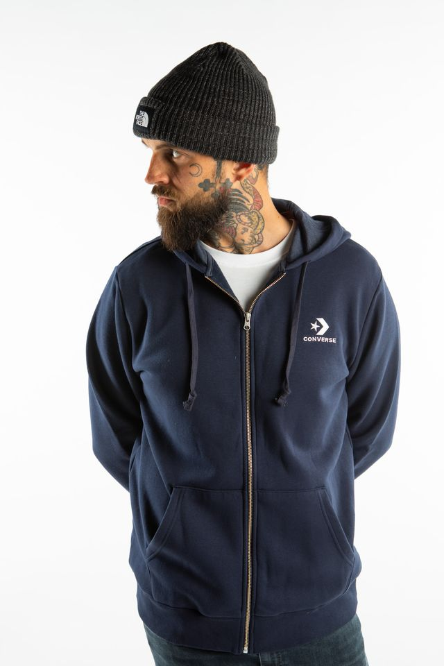 Converse STAR CHEVRON FULL ZIP HOODIE A02 NAVY 10008813-A02