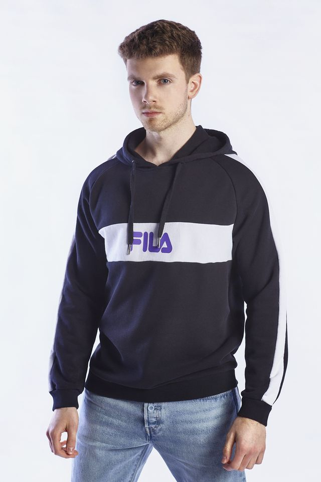Fila MEN JEREMY HOODIE E09 BLACK/BRIGHT WHITE 687112-E09