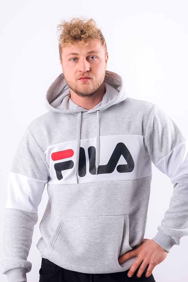 Fila MEN NIGHT BLOCKED HOODIE A068 LIGHT GREY MELANGE BROS/BRIGHT WHITE 687001-A068