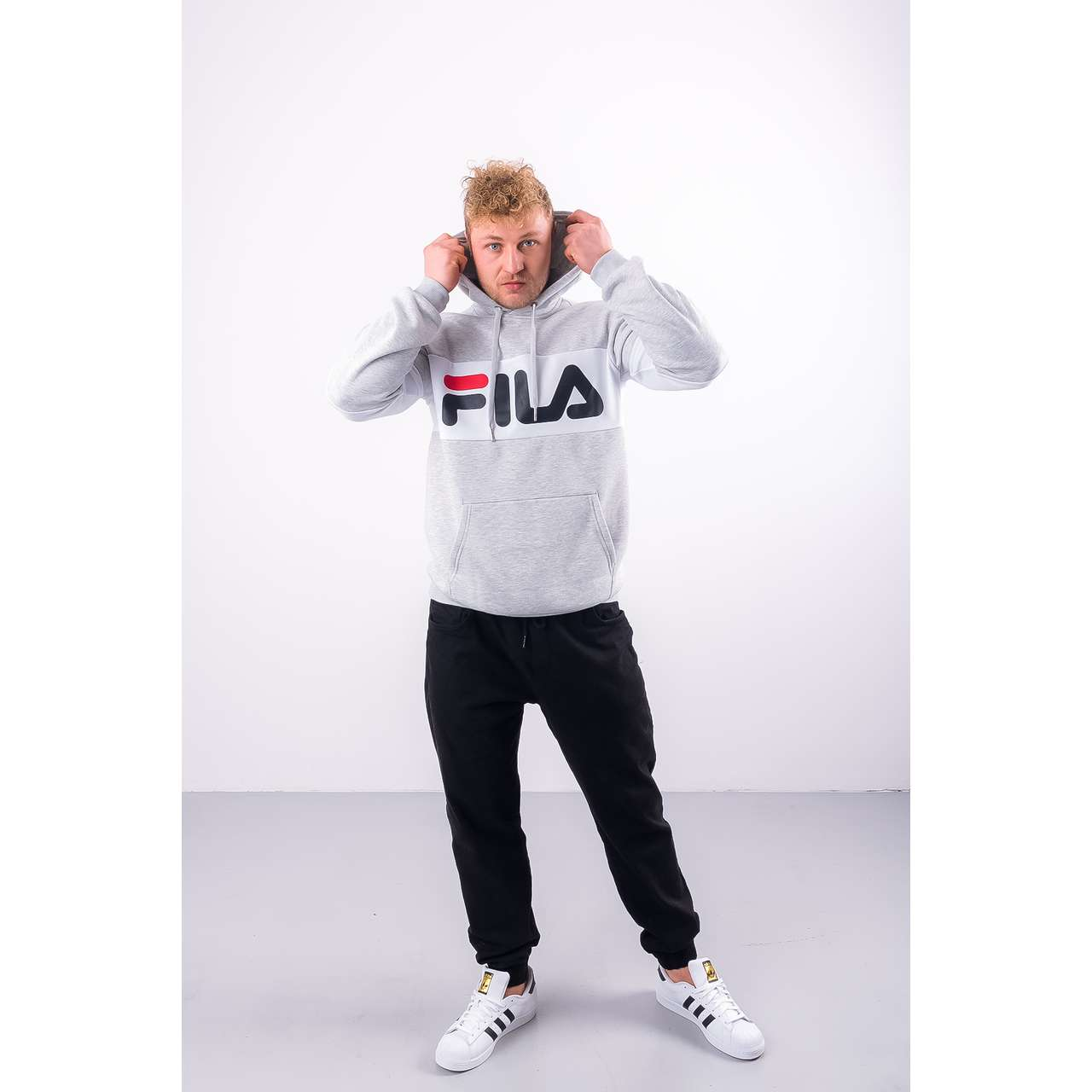 Bluza Fila  <br/><small>MEN NIGHT BLOCKED HOODIE A068 LIGHT GREY MELANGE BROS/BRIGHT WHITE </small>  687001-A068