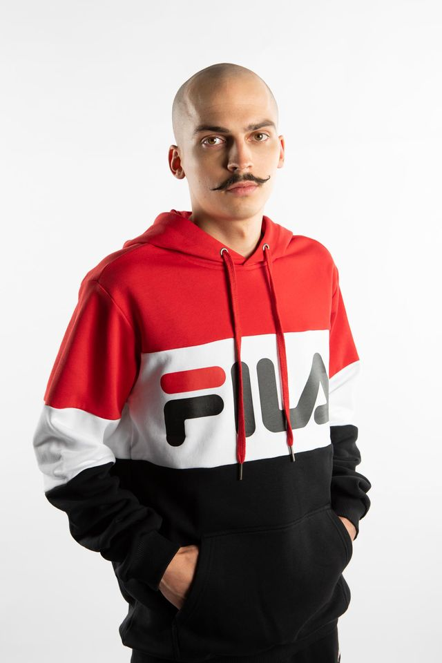 Bluza Fila  <br/><small>NIGHT BLOCKED HOODY A089 TRUE RED/BLACK/BRIGHT WHITE </small>  687001-A089