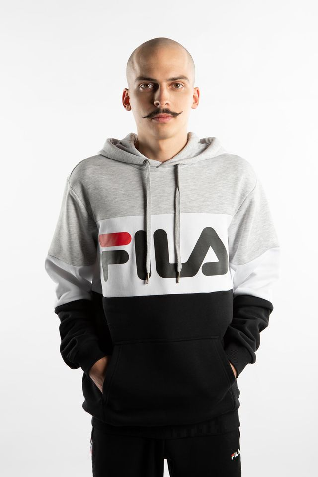 Fila NIGHT BLOCKED HOODY A220 LIGHT GREY BRIGHT MELANGE/BLACK/BRIGHT WHITE 687001-A220