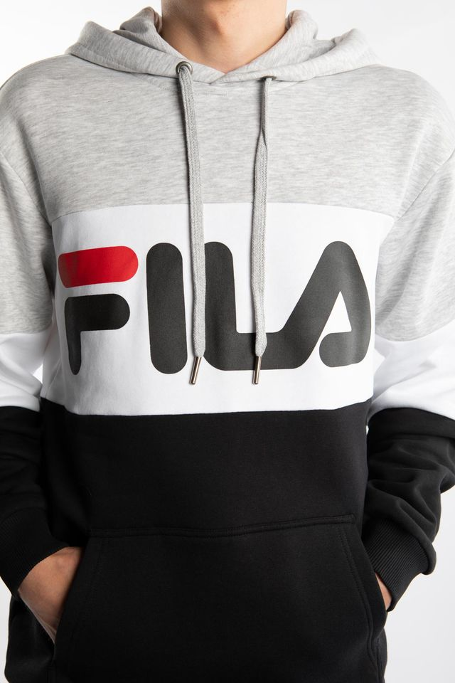 Bluza Fila  <br/><small>NIGHT BLOCKED HOODY A220 LIGHT GREY BRIGHT MELANGE/BLACK/BRIGHT WHITE </small>  687001-A220