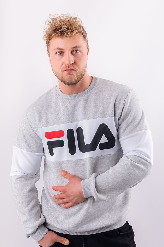 Fila MEN STRAIGHT BLOCKED CREW A068 LIGHT GREY MELANGE BROS/BRIGHT WHITE 681255-A068
