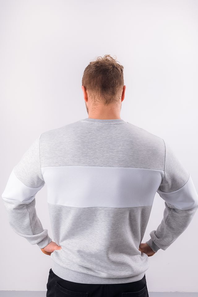 Bluza Fila  <br/><small>MEN STRAIGHT BLOCKED CREW A068 LIGHT GREY MELANGE BROS/BRIGHT WHITE </small>  681255-A068