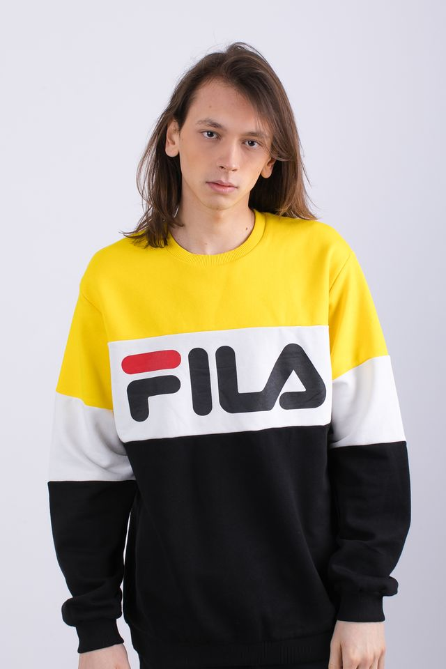 Fila MEN STRAIGHT BLOCKED CREW A063 BLACK/EMPIRE YELLOW/BRIGHT WHITE 681255-A063
