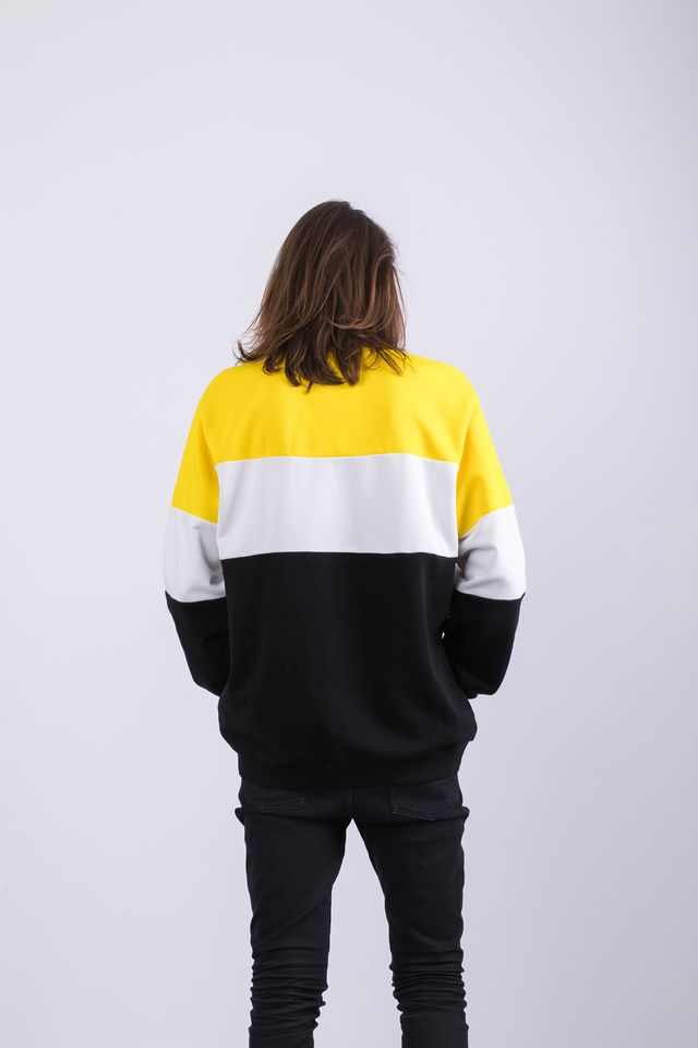 Bluza Fila  <br/><small>MEN STRAIGHT BLOCKED CREW A063 BLACK/EMPIRE YELLOW/BRIGHT WHITE </small>  681255-A063