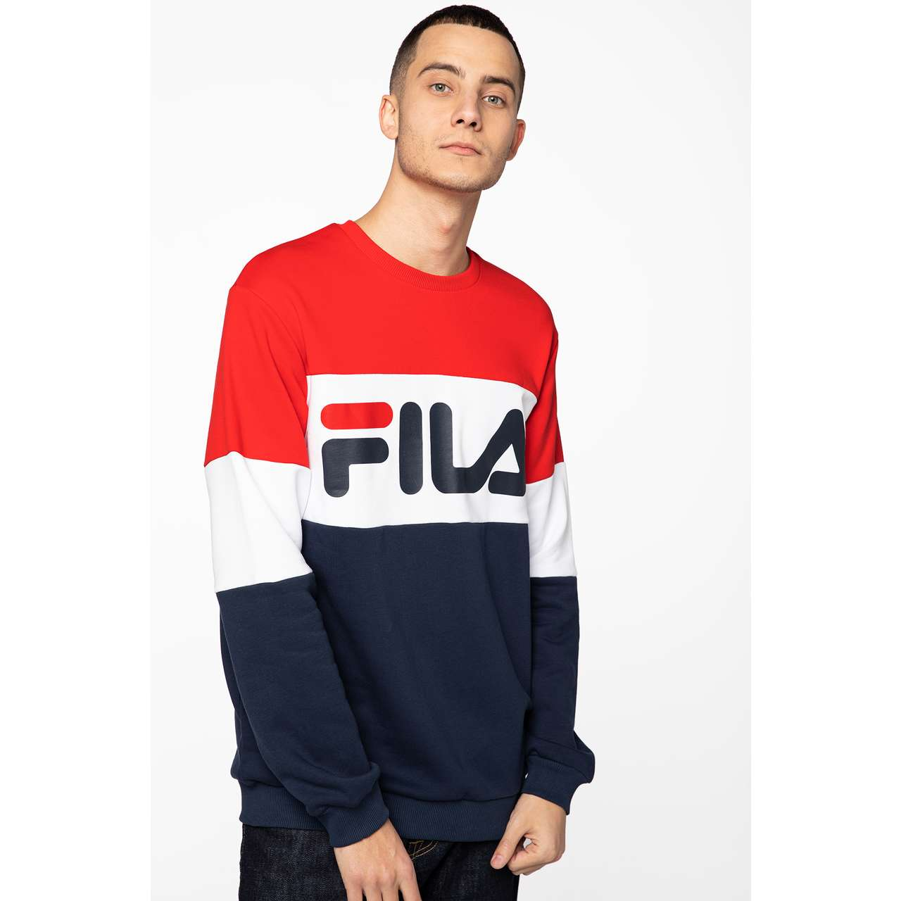Bluza Fila  <br/><small>MEN STRAIGHT BLOCKED G06 BLACK IRIS/TRUE RED/BRIGHT WHITE </small>  681255-G06