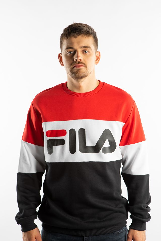 Fila STRAIGHT BLOCKED CREW A089 TRUE RED/BLACK/BRIGHT WHITE 681255-A089
