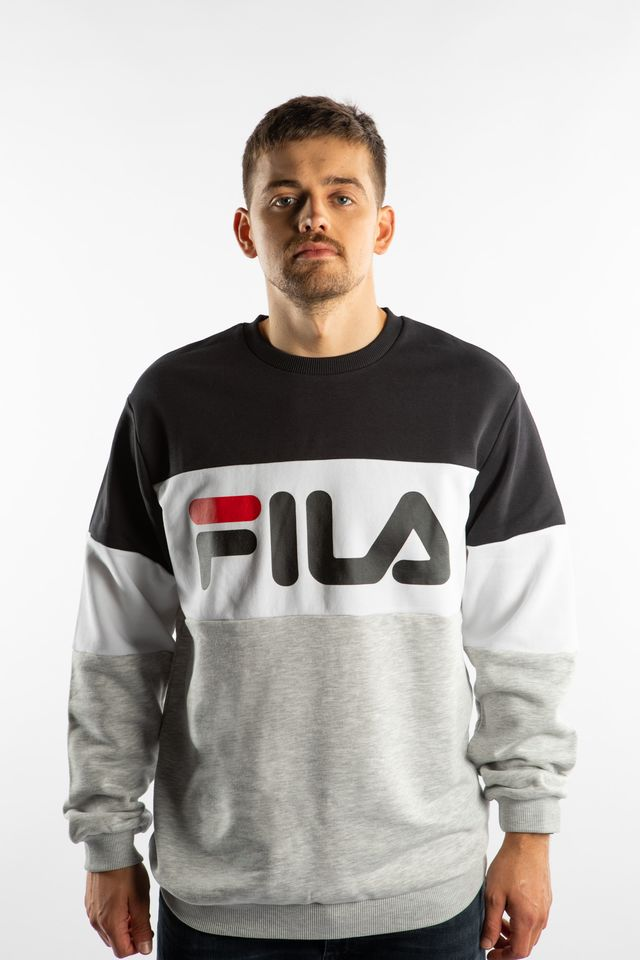Fila STRAIGHT BLOCKED CREW I85 BLACK/LIGHT GREY MELANGE BROS/BRIGHT 681255-I85