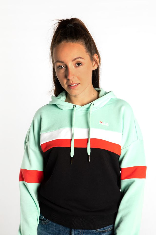 Fila ELLA HOODY A211 MIST GREEN/BLACK/BRIGHT WHITE/TRUE RED 687079-A211