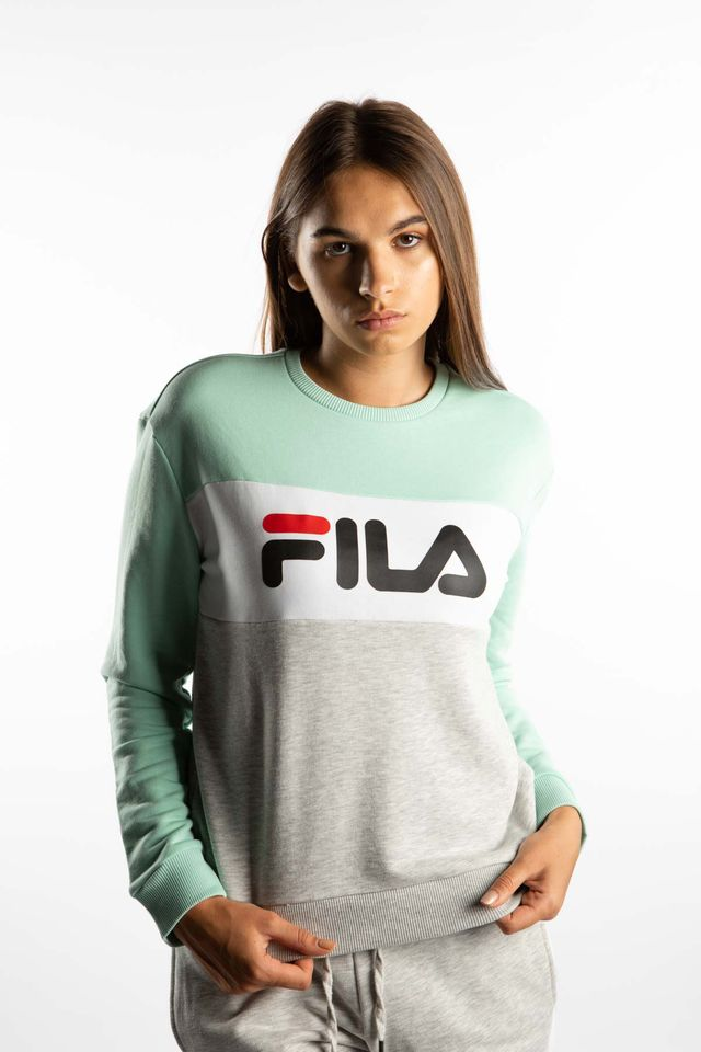 Fila LEAH CREW SWEAT A205 LIGHT GREY MELANGE BROS/BRIGHT WHITE/MIST GREEN 687043-A205