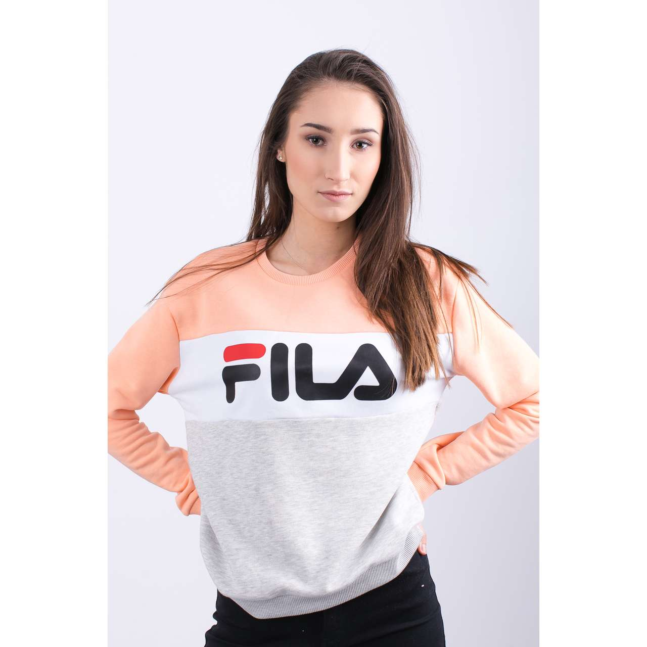 Bluza Fila  <br/><small>WOMEN LEAH CREW SWEAT A064 LIGHT GREY MELANGE BROS/SALMON </small>  687043-A064