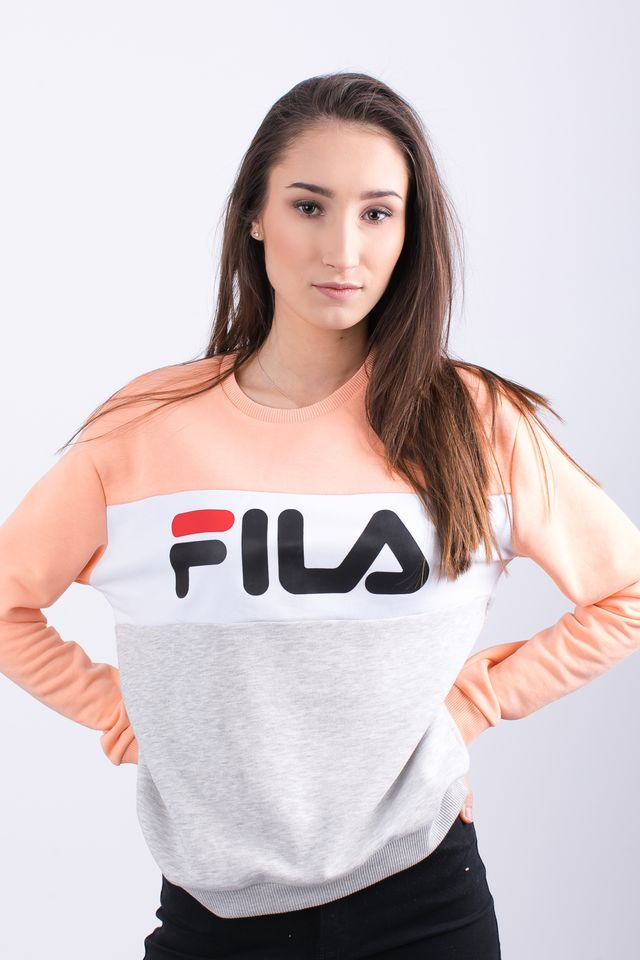 Fila WOMEN LEAH CREW SWEAT A064 LIGHT GREY MELANGE BROS/SALMON 687043-A064