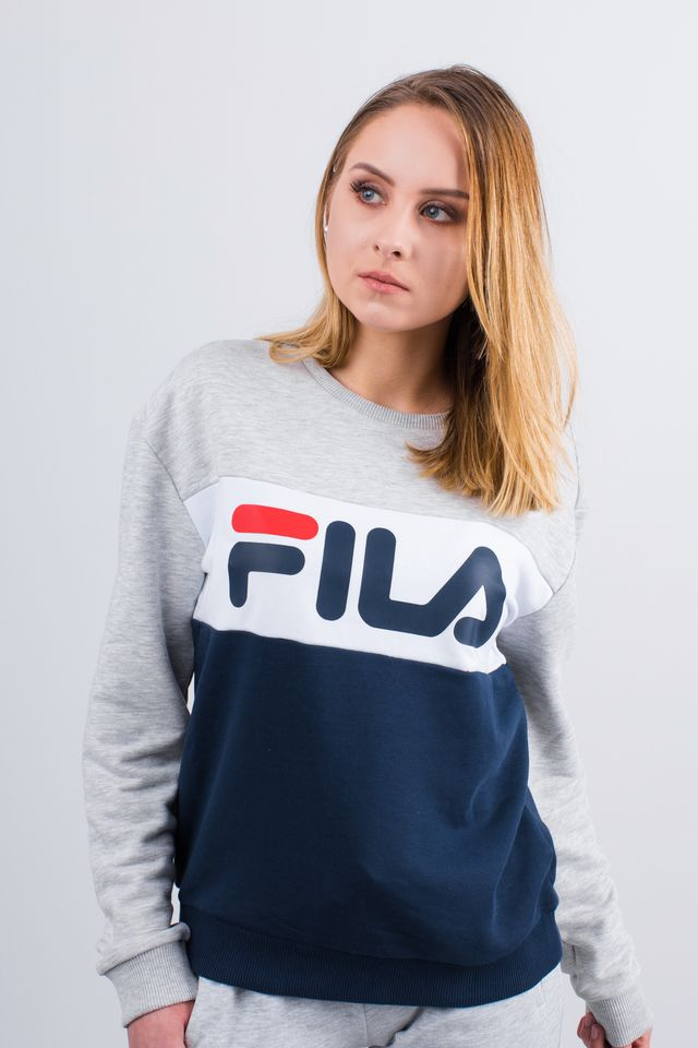 Fila WOMEN LEAH CREW SWEAT A065 BLACK IRIS/LIGHT GREY MELANGE BROS 687043-A065