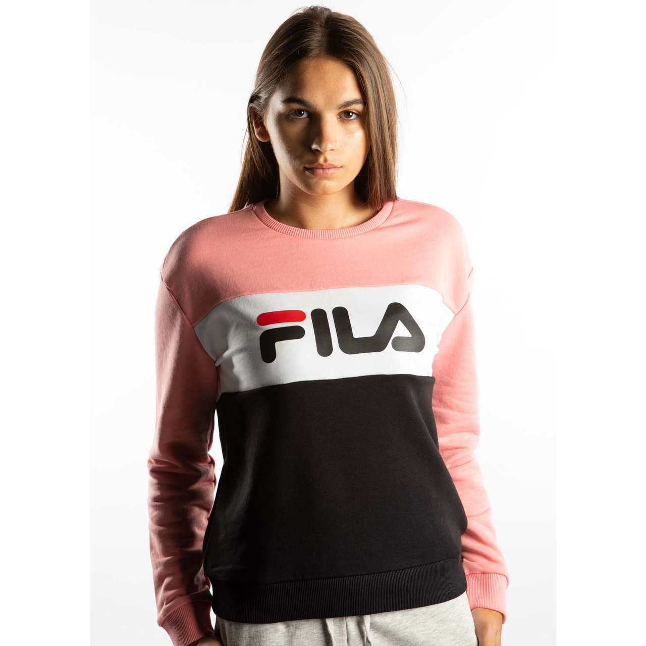 Bluza Fila  <br/><small>LEAH CREW SWEAT A209 BLACK/QUARZ PINK/BRIGHT WHITE </small>  687043-A209