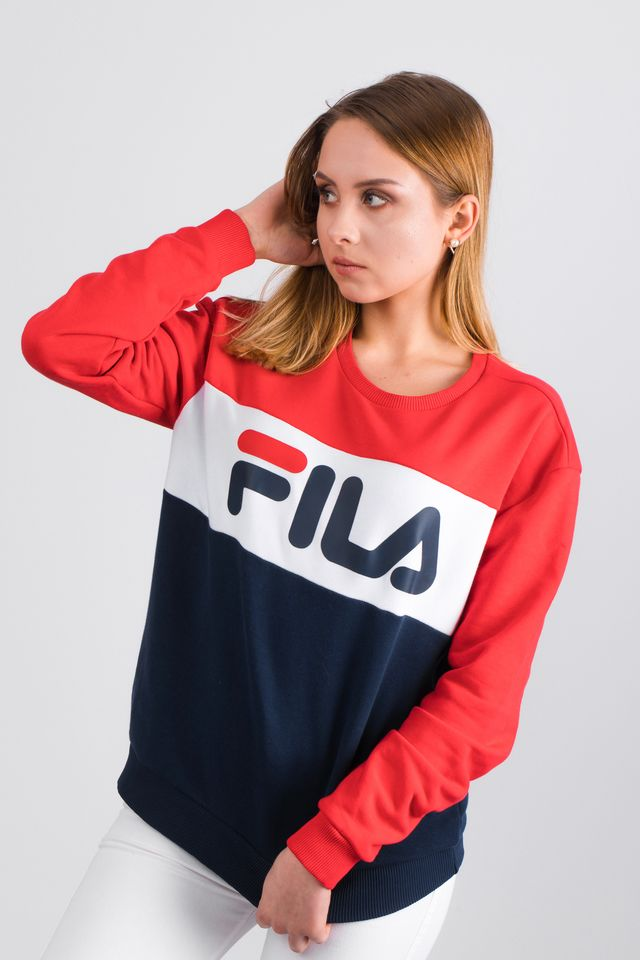Fila WOMEN LEAH CREW SWEAT G06 BLACK IRIS/TRUE RED 687043-G06