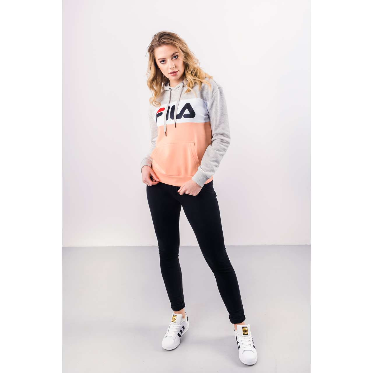 Bluza Fila  <br/><small>WOMEN LORI HOODIE SWEAT A064 LIGHT GREY MELANGE BROS/SALMON </small>  687042-A064