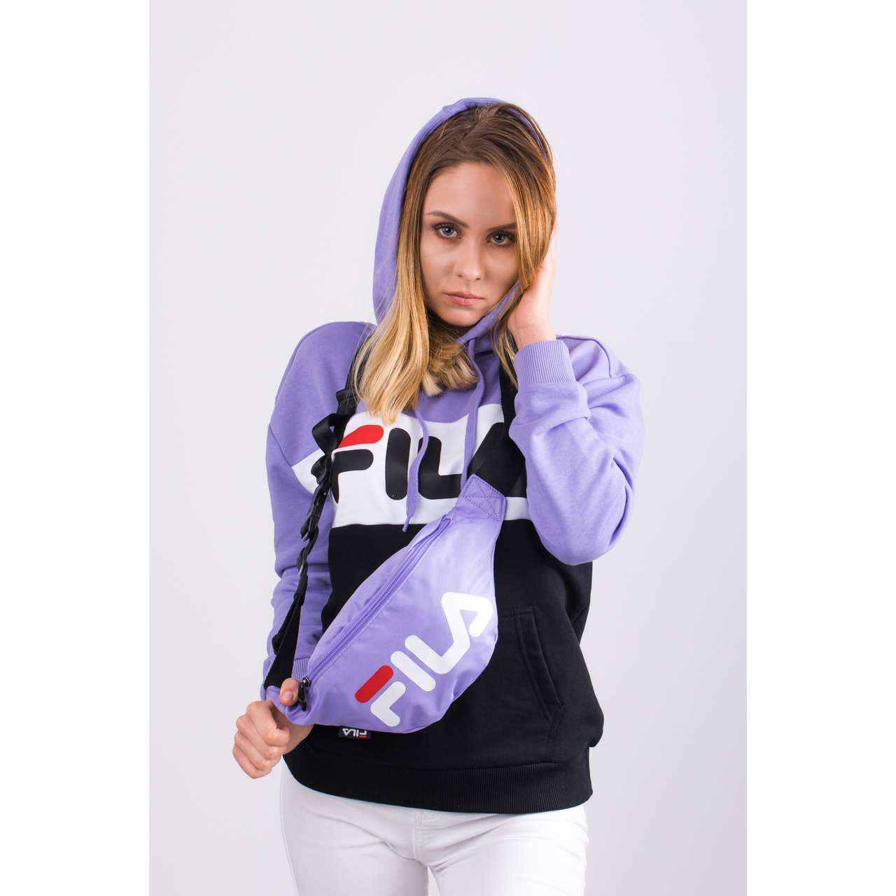 Bluza Fila  <br/><small>WOMEN LORI HOODIE SWEAT A067 VIOLET TULIP/BLACK/BRIGHT WHITE </small>  687042-A067