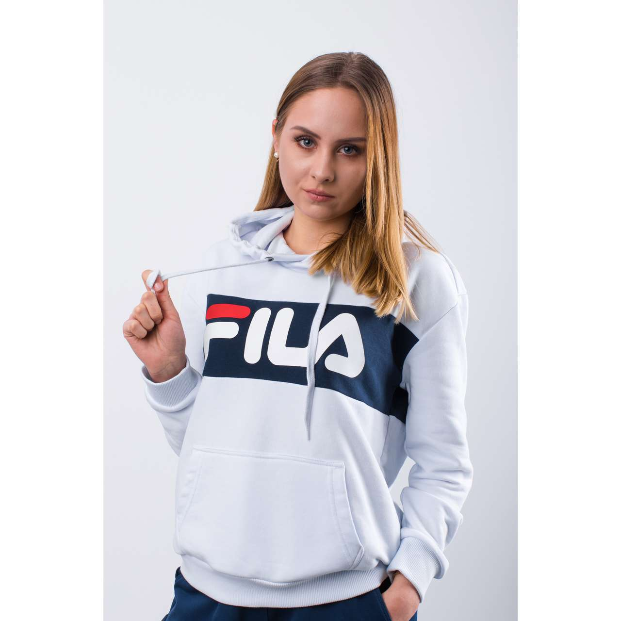 Bluza Fila  <br/><small>WOMEN LORI HOODIE SWEAT I98 BRIGHT WHITE/BLACK IRIS </small>  687042-I98