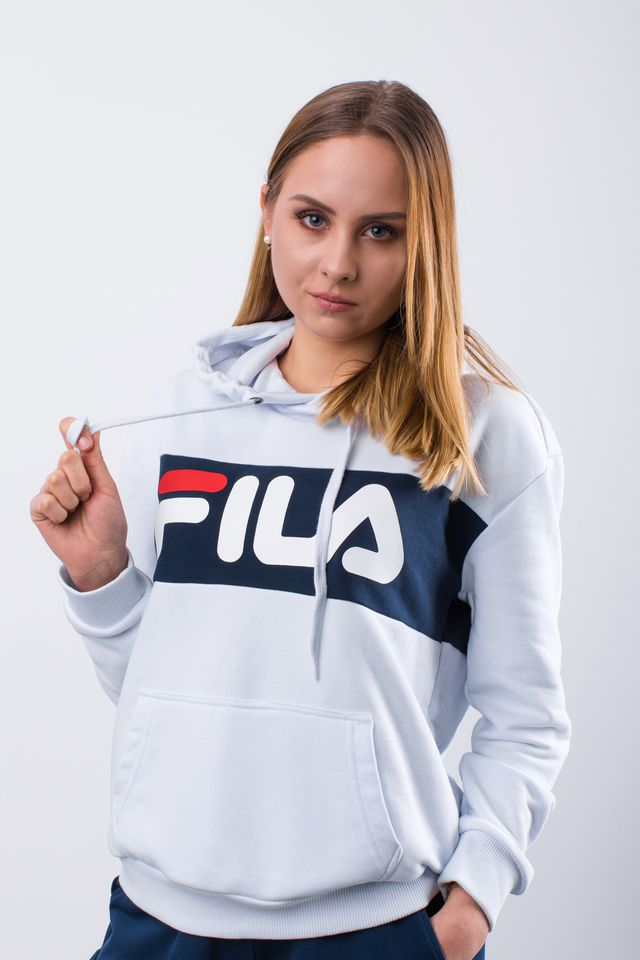 Fila WOMEN LORI HOODIE SWEAT I98 BRIGHT WHITE/BLACK IRIS 687042-I98