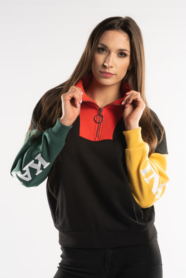 Karl Kani BLOCK HALFZIP CREWNECK BLACK/RED/GREEN/YELLOW 6174040