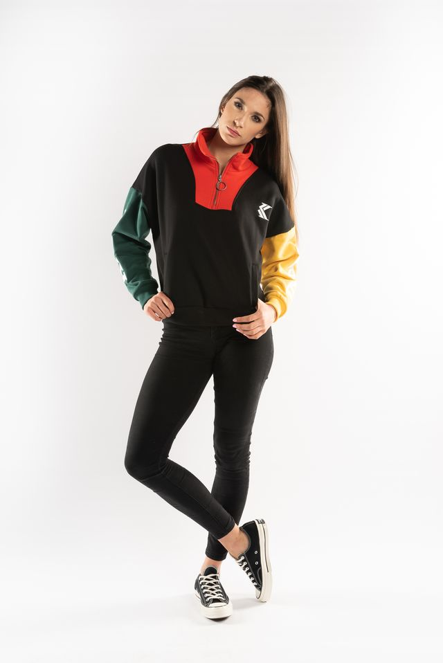 Bluza Karl Kani  <br/><small>BLOCK HALFZIP CREWNECK BLACK/RED/GREEN/YELLOW </small>  6174040
