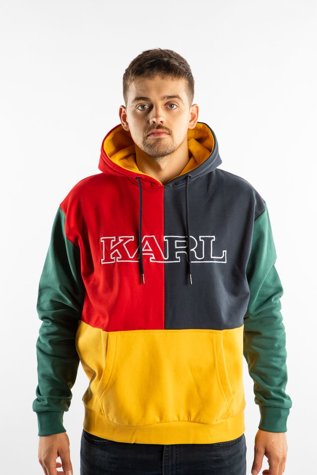 Karl Kani COLLEGE BLOCK HOODIE 816 YELLOW/GREEN/RED/NAVY 6091816