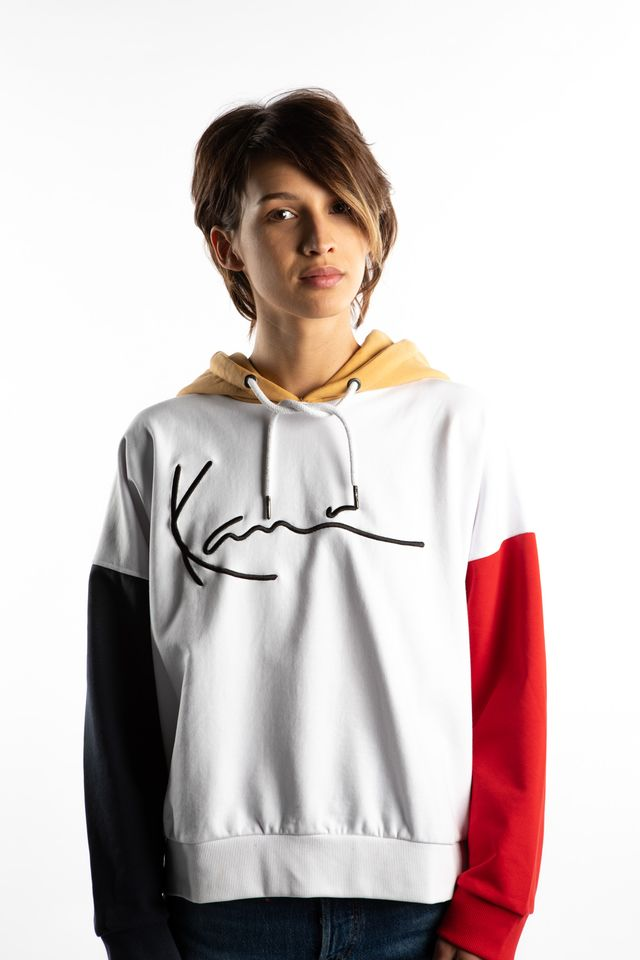 Karl Kani SIGNATURE BLOCK HOODIE 860 WHITE/BLUE/RED/CAMEL 6121860