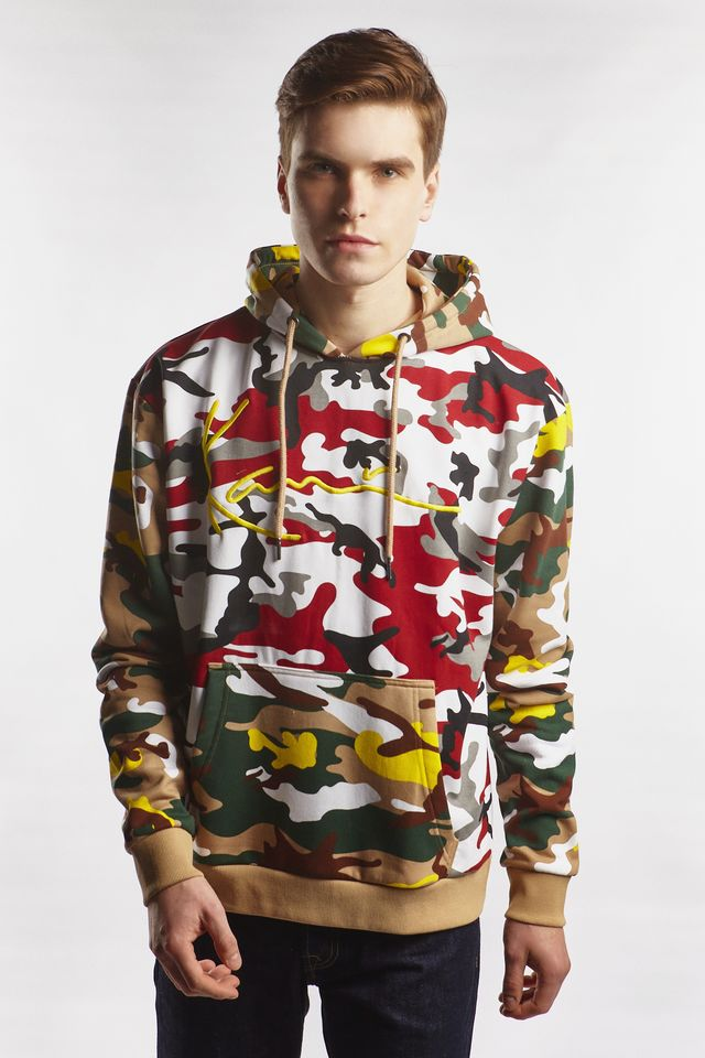 Karl Kani SIGNATURE CAMO HOODIE 334 BURGUNDY/WHITE/BLACK/YELLOW/BROWN 6028334