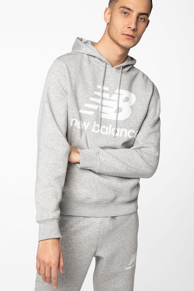 GREY ESSENTIALS STACKED LOGO PO HOODIE NBMT03578AG