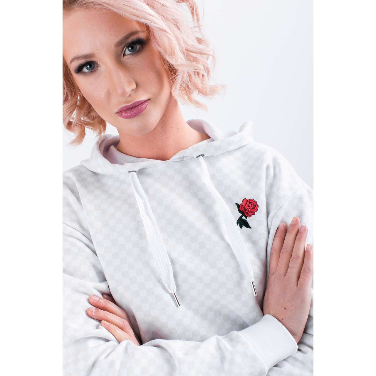 Bluza Vans  <br/><small>LEILA CHECK HOODIE C13 WHITE </small>  VN0A3UMSC131